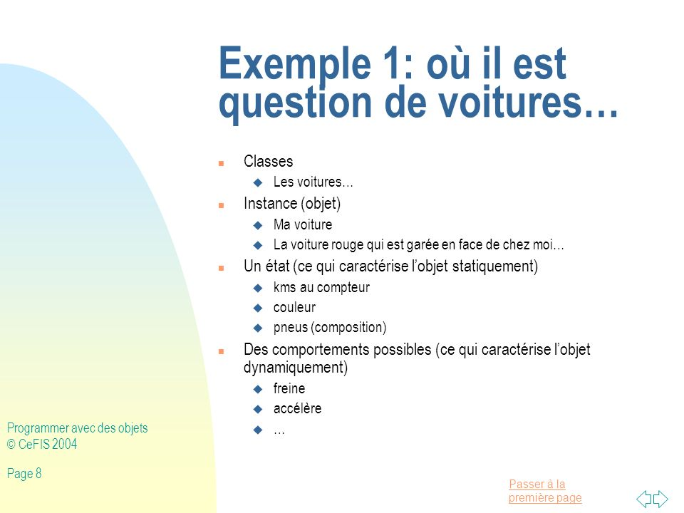 Exemple 1: où il est question de voitures…