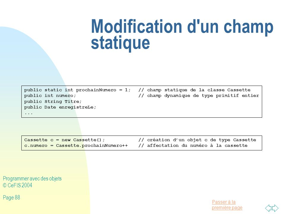 Modification d un champ statique