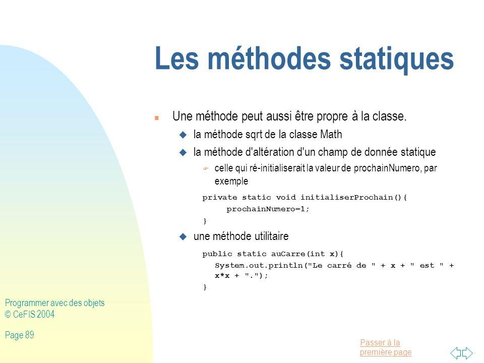 Les méthodes statiques
