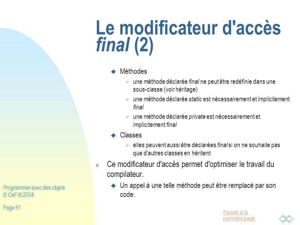 Le modificateur d accès final (2)