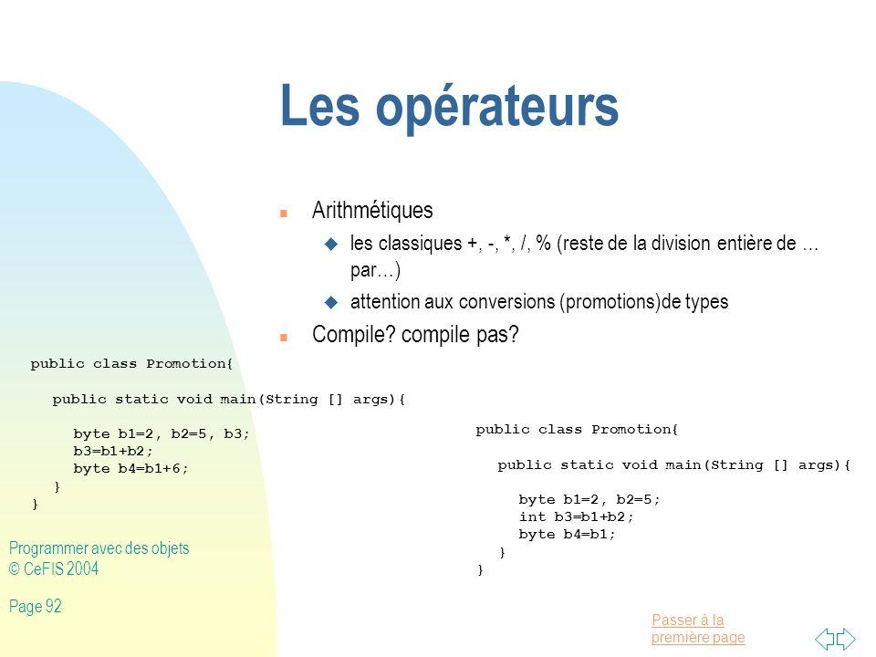 Les opérateurs Arithmétiques Compile compile pas