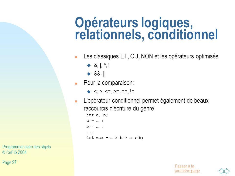 Opérateurs logiques, relationnels, conditionnel