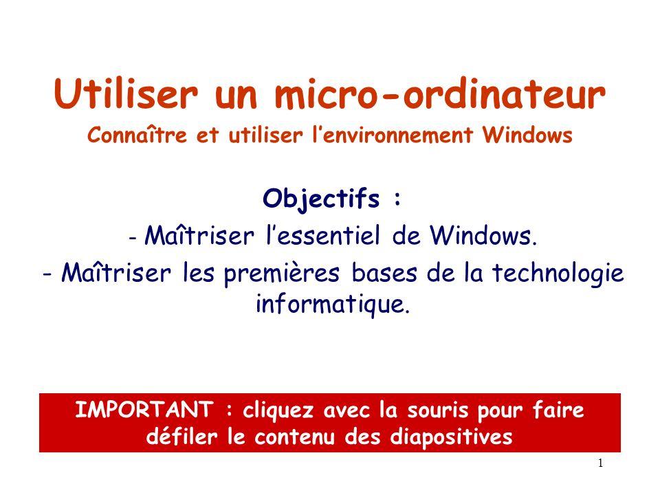 Connaître et utiliser l'environnement Windows