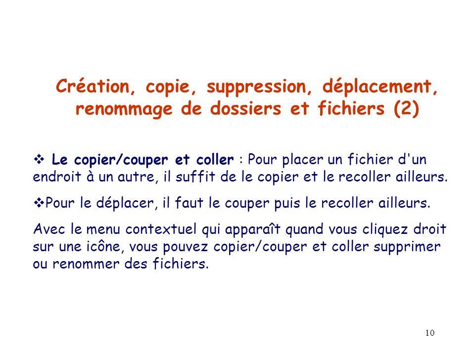 Création, copie, suppression, déplacement, renommage de dossiers et fichiers (2)