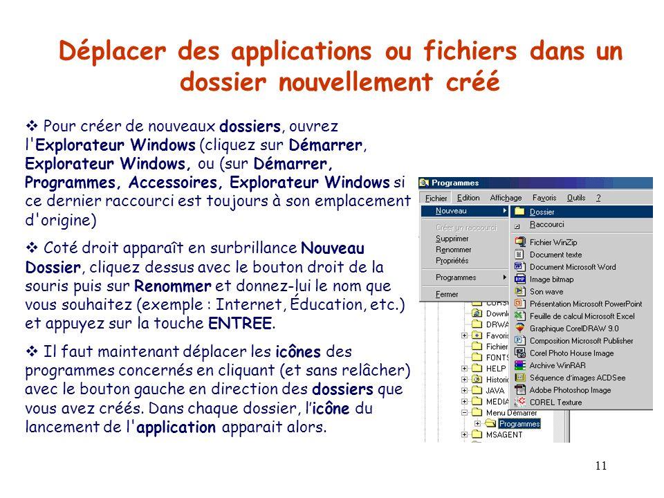 Déplacer des applications ou fichiers dans un dossier nouvellement créé