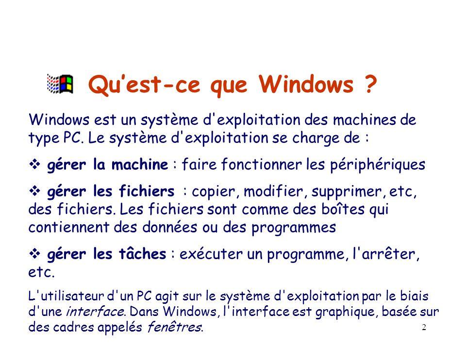 Qu'est-ce que Windows Windows est un système d exploitation des machines de type PC. Le système d exploitation se charge de :