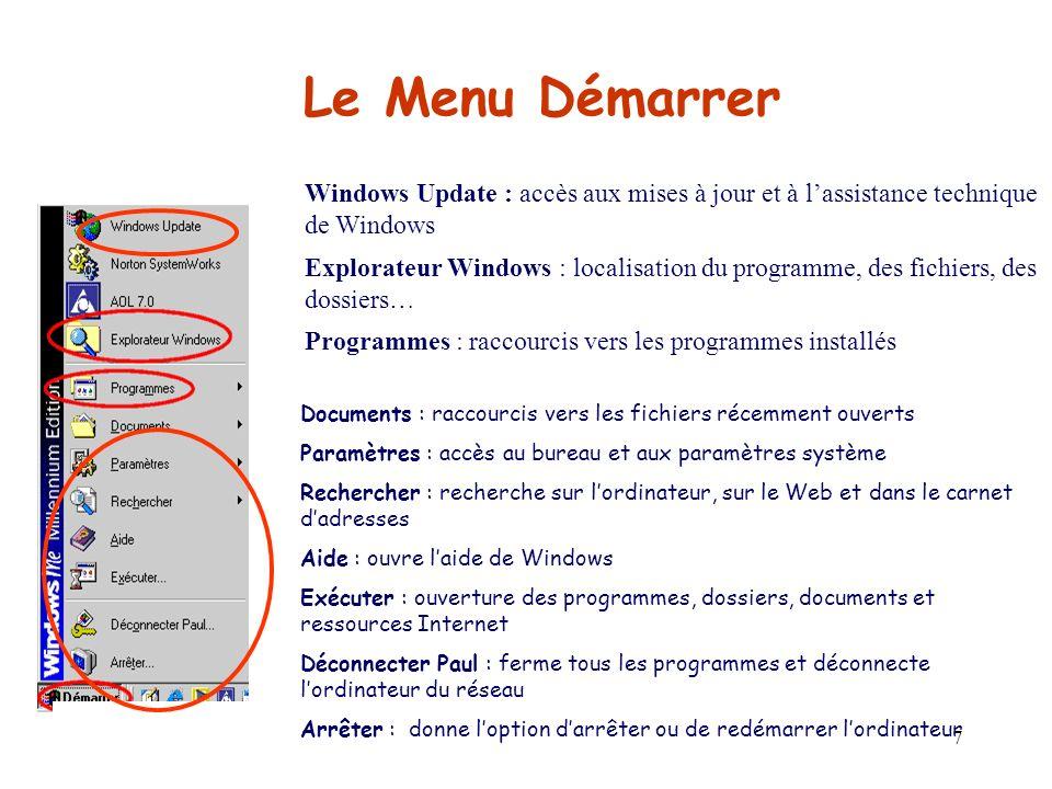 Le Menu Démarrer Windows Update : accès aux mises à jour et à l'assistance technique de Windows.