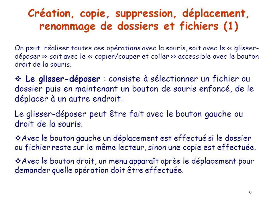 Création, copie, suppression, déplacement, renommage de dossiers et fichiers (1)