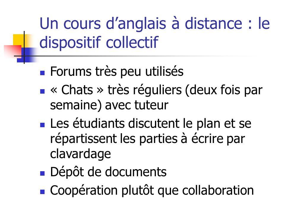 Un cours d'anglais à distance : le dispositif collectif