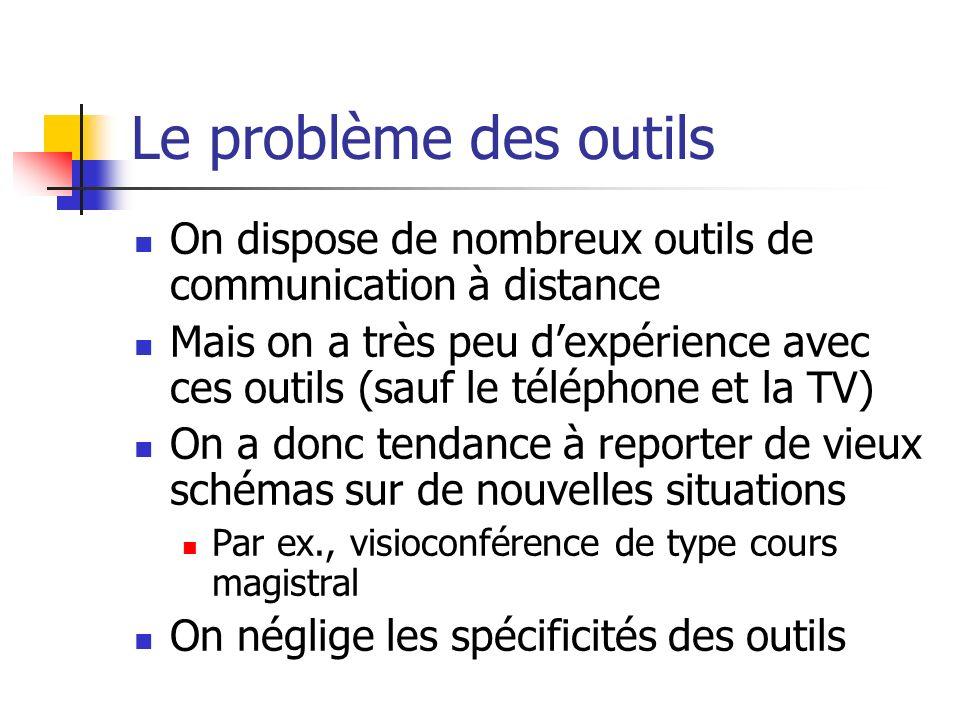 Le problème des outils On dispose de nombreux outils de communication à distance.