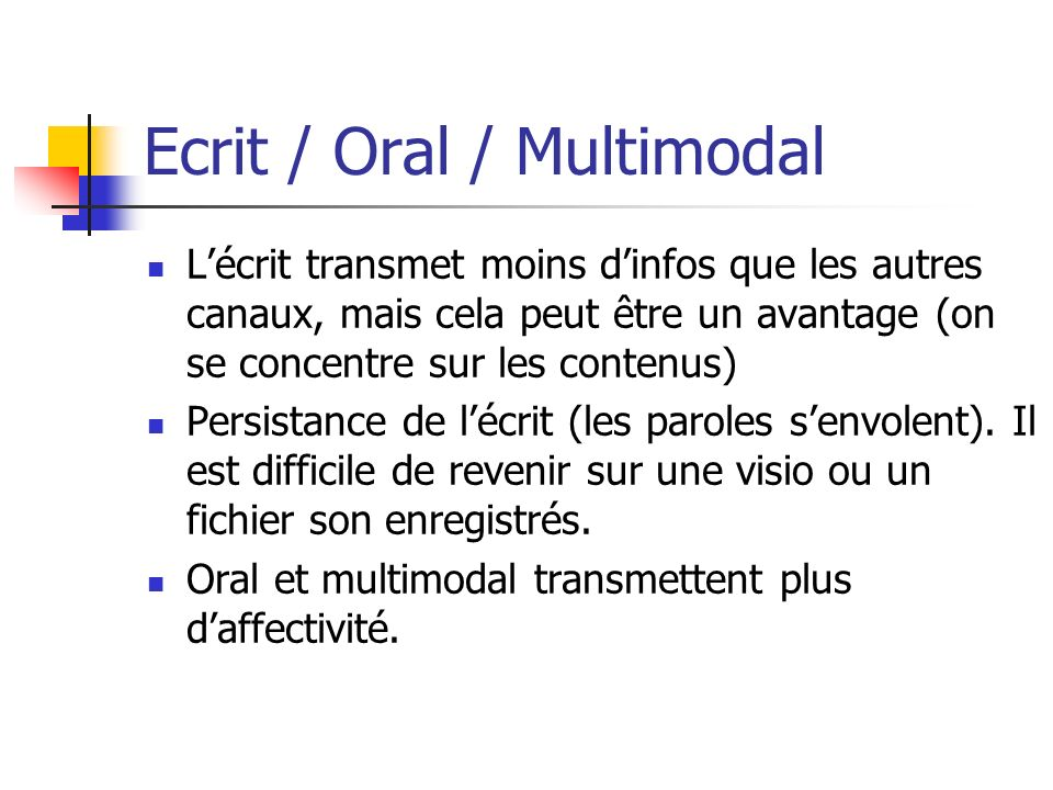 Ecrit / Oral / Multimodal