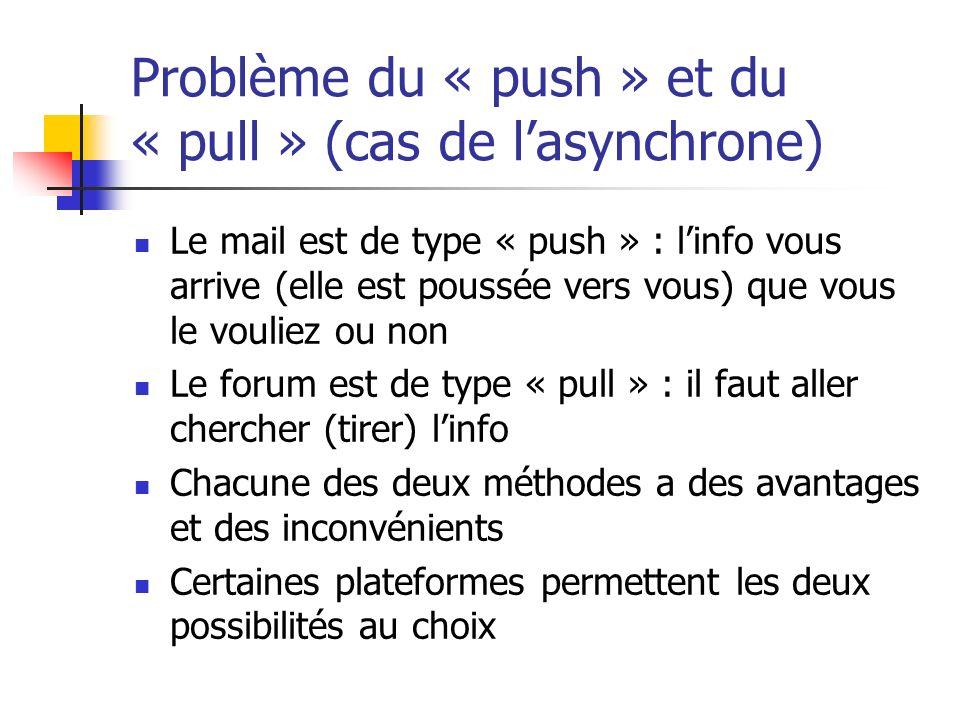Problème du « push » et du « pull » (cas de l'asynchrone)