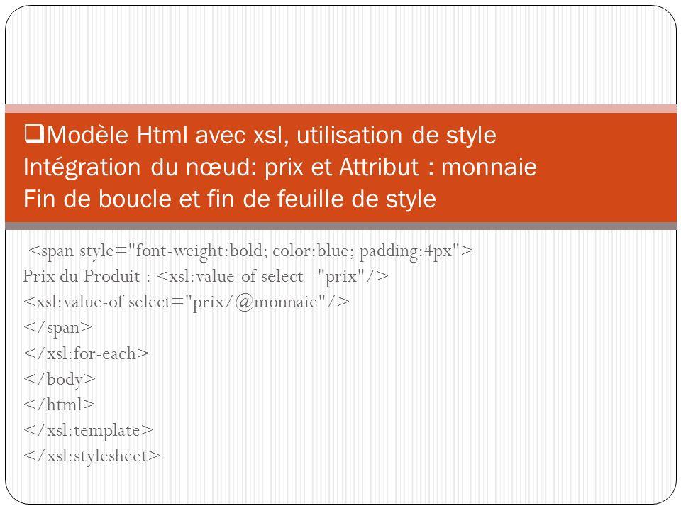 Modèle Html avec xsl, utilisation de style Intégration du nœud: prix et Attribut : monnaie Fin de boucle et fin de feuille de style