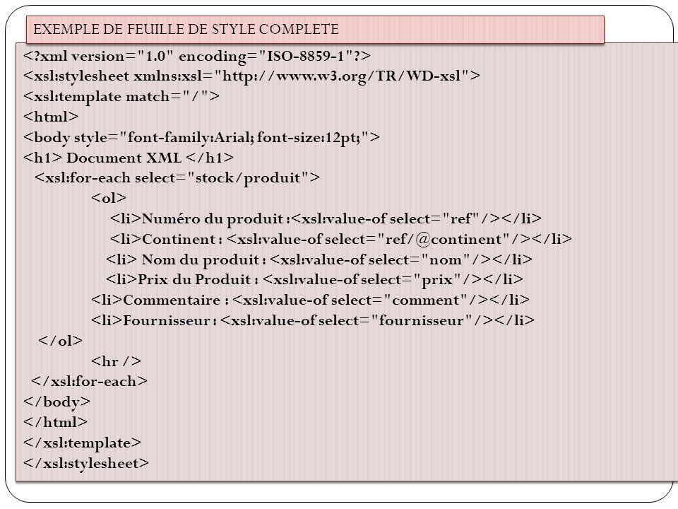 EXEMPLE DE FEUILLE DE STYLE COMPLETE