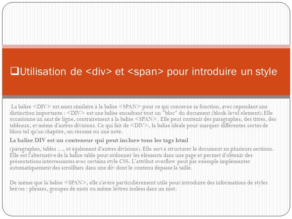 Utilisation de <div> et <span> pour introduire un style