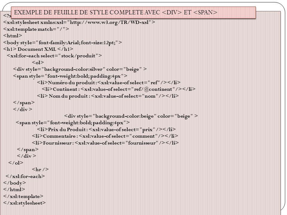 EXEMPLE DE FEUILLE DE STYLE COMPLETE AVEC <DIV> ET <SPAN>