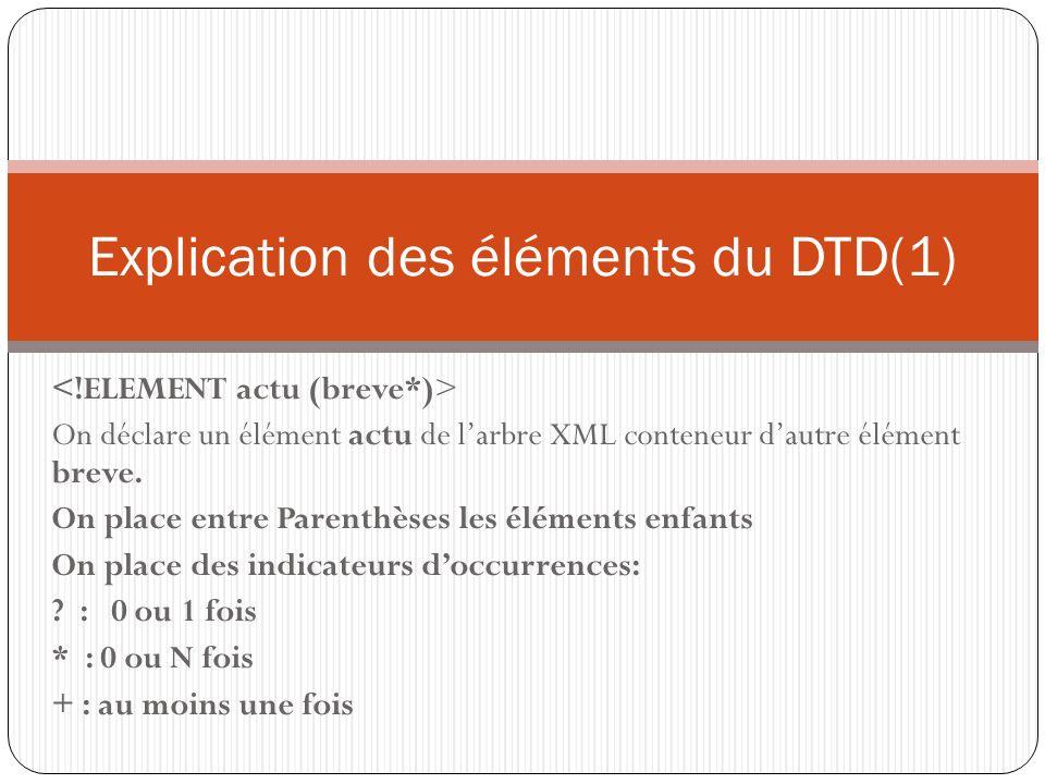 Explication des éléments du DTD(1)