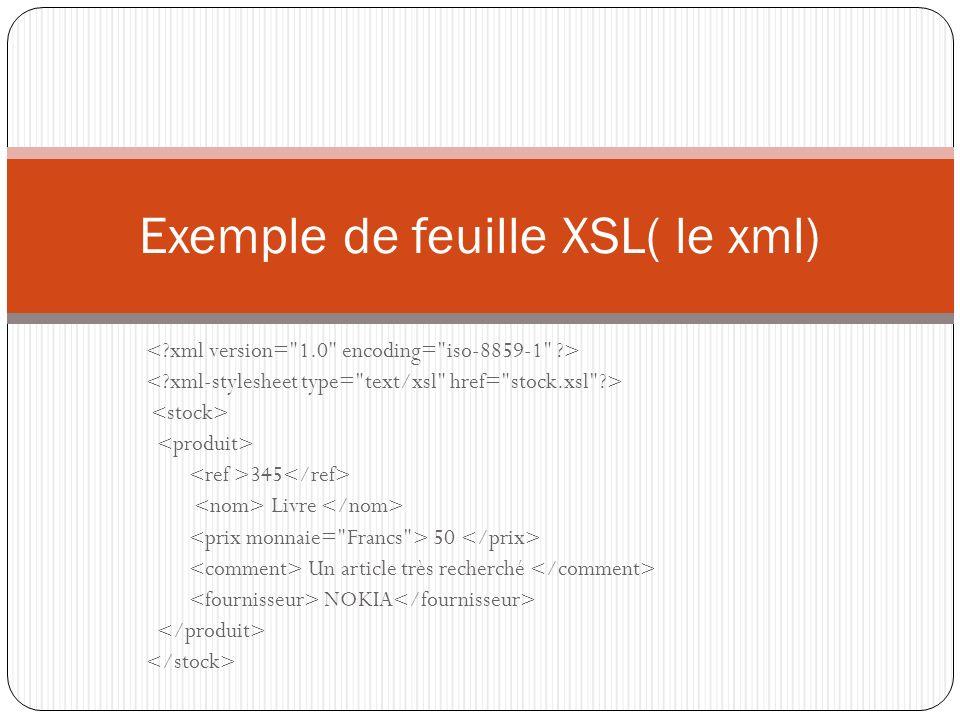 Exemple de feuille XSL( le xml)