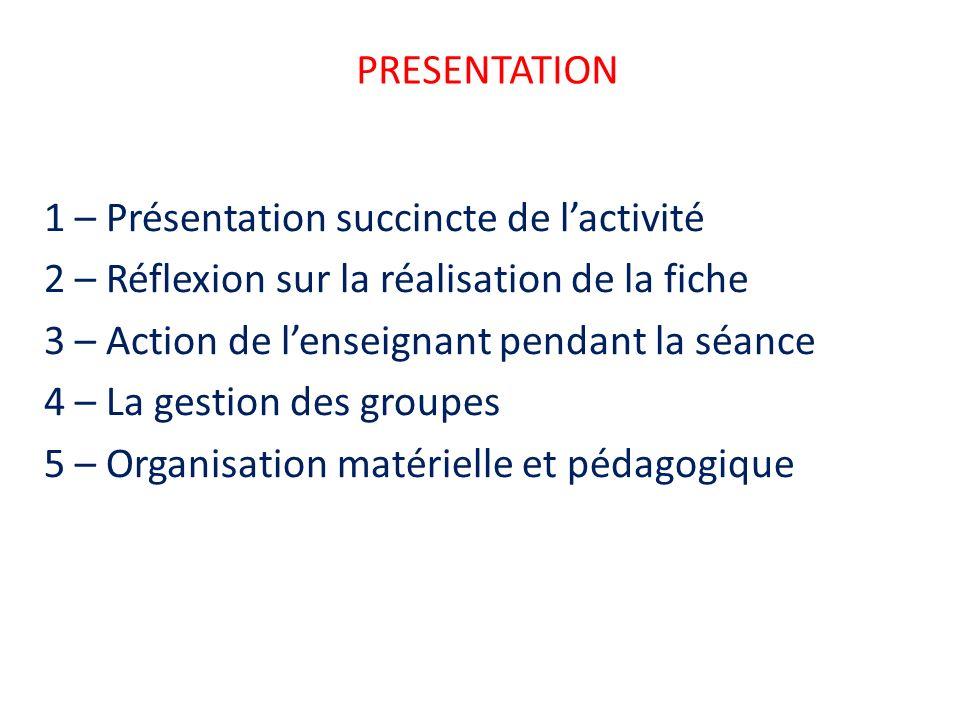 PRESENTATION 1 – Présentation succincte de l'activité. 2 – Réflexion sur la réalisation de la fiche.