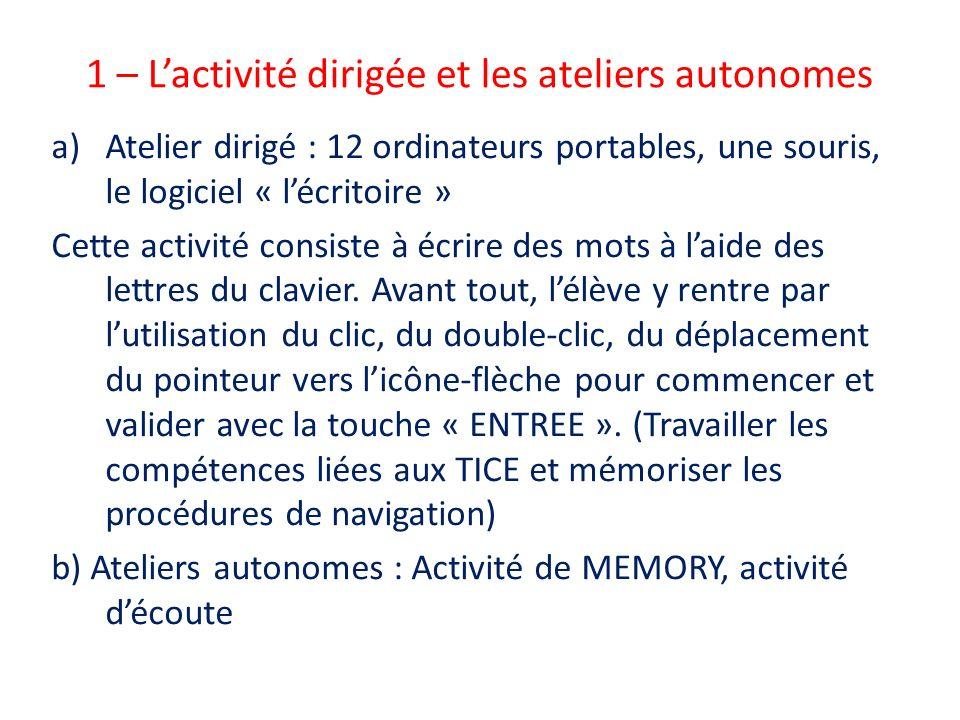 1 – L'activité dirigée et les ateliers autonomes