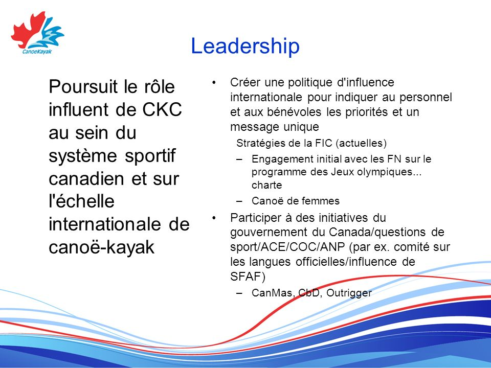 Leadership Poursuit le rôle influent de CKC au sein du système sportif canadien et sur l échelle internationale de canoë-kayak.