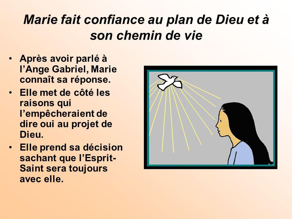 Marie fait confiance au plan de Dieu et à son chemin de vie