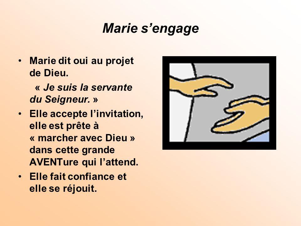 Marie s'engage Marie dit oui au projet de Dieu.