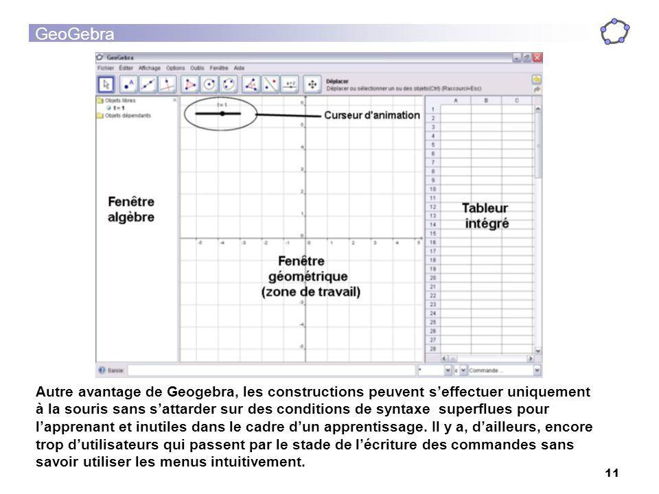 Autre avantage de Geogebra, les constructions peuvent s'effectuer uniquement à la souris sans s'attarder sur des conditions de syntaxe superflues pour l'apprenant et inutiles dans le cadre d'un apprentissage.