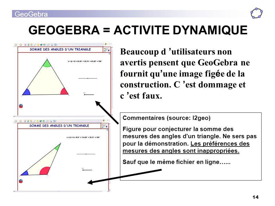GEOGEBRA = ACTIVITE DYNAMIQUE