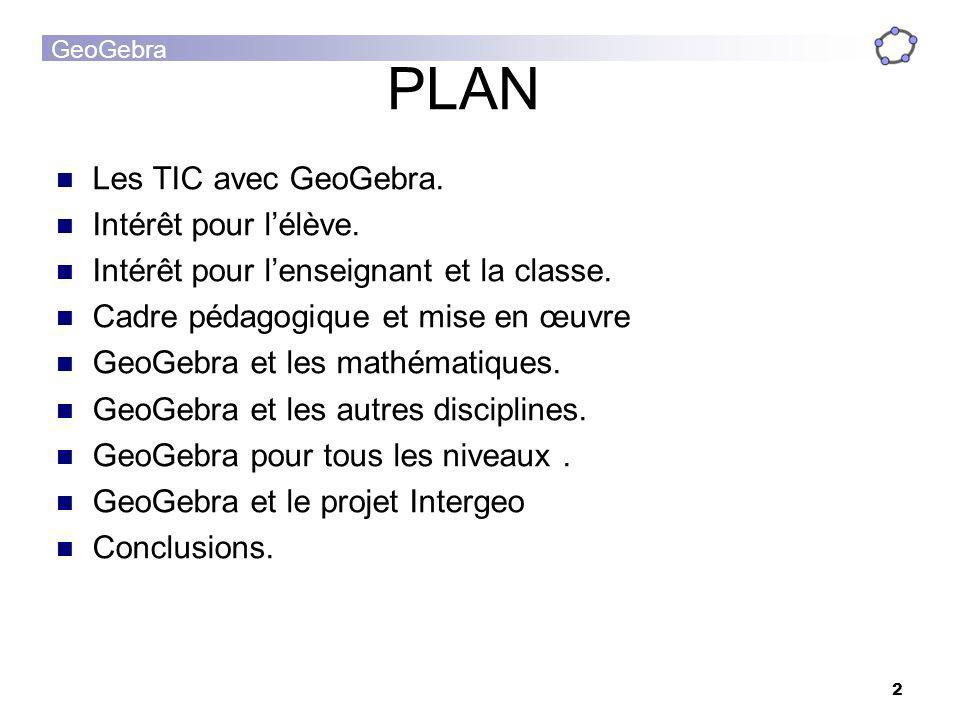 PLAN Les TIC avec GeoGebra. Intérêt pour l'élève.