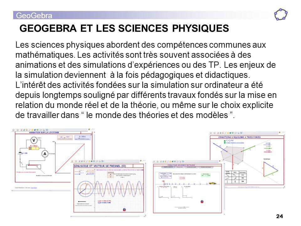 GEOGEBRA ET LES SCIENCES PHYSIQUES