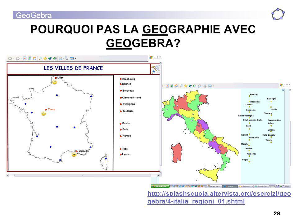 POURQUOI PAS LA GEOGRAPHIE AVEC GEOGEBRA