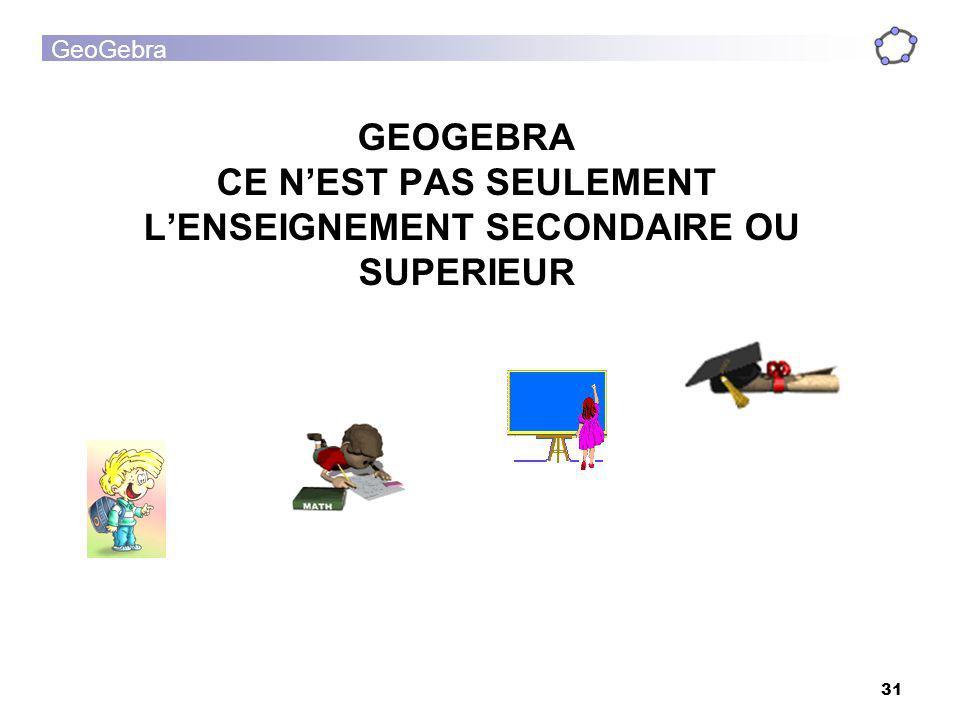GEOGEBRA CE N'EST PAS SEULEMENT L'ENSEIGNEMENT SECONDAIRE OU SUPERIEUR