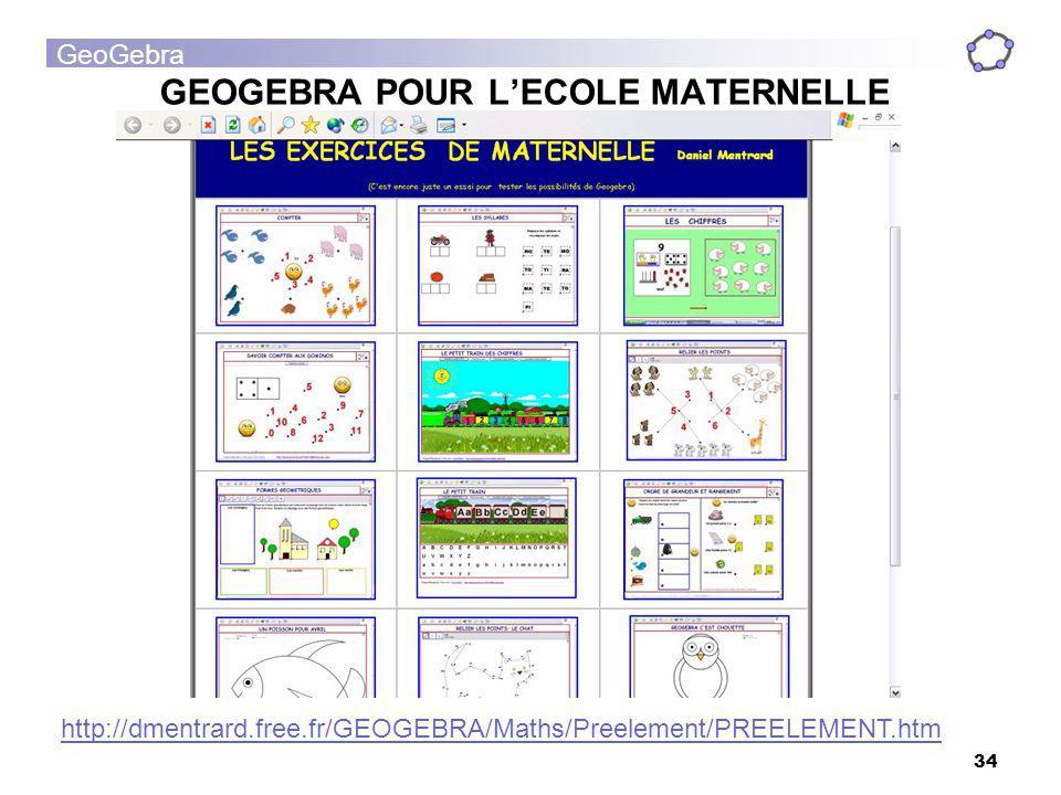 GEOGEBRA POUR L'ECOLE MATERNELLE