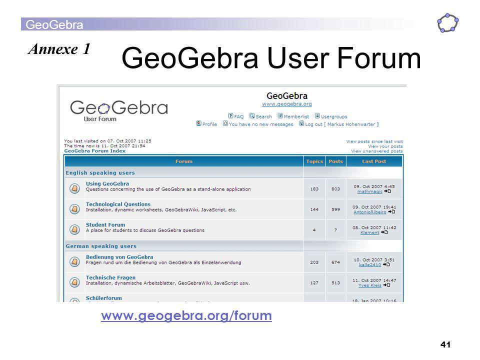 GeoGebra User Forum Annexe 1 www.geogebra.org/forum