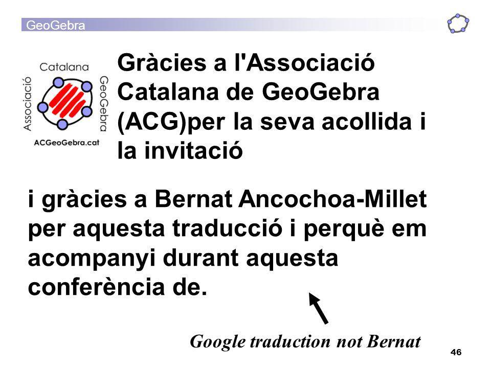 Gràcies a l Associació Catalana de GeoGebra (ACG)per la seva acollida i la invitació