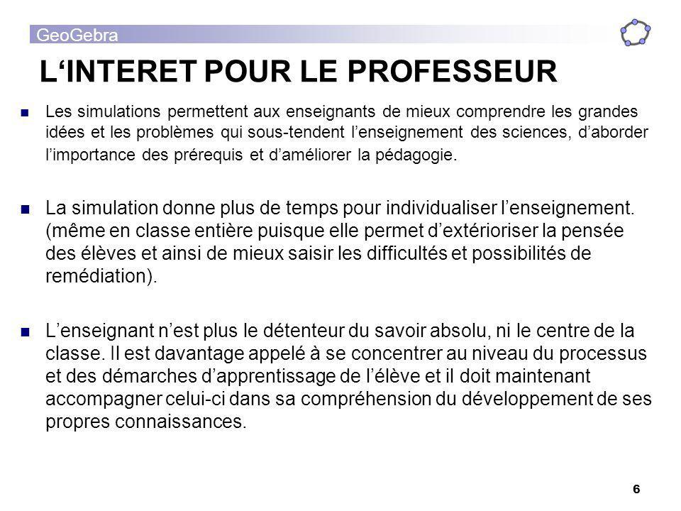 L'INTERET POUR LE PROFESSEUR