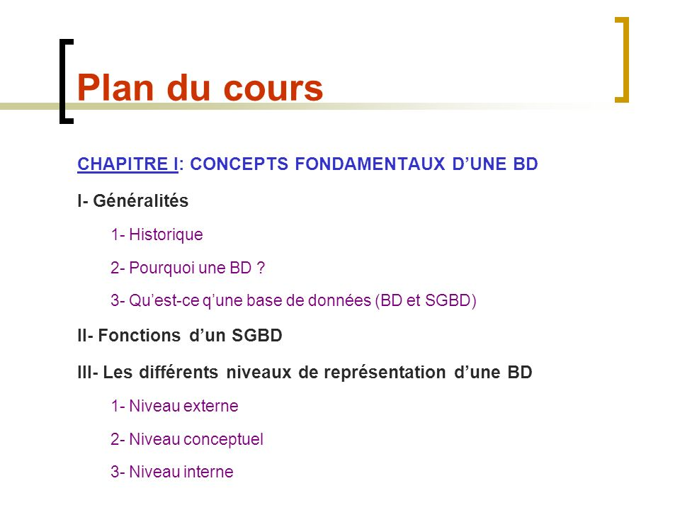 Plan du cours CHAPITRE I: CONCEPTS FONDAMENTAUX D'UNE BD