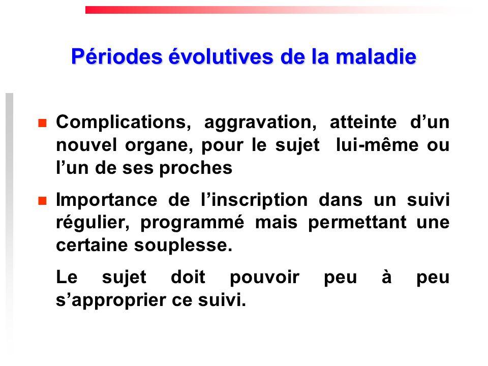 Périodes évolutives de la maladie