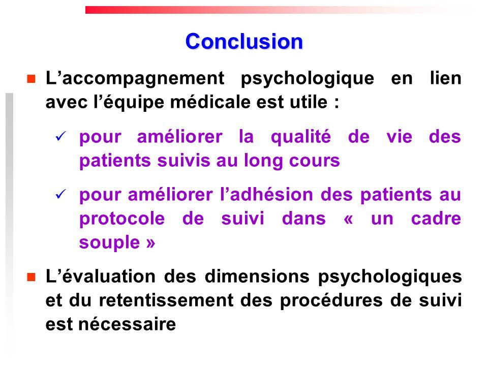 Conclusion L'accompagnement psychologique en lien avec l'équipe médicale est utile :