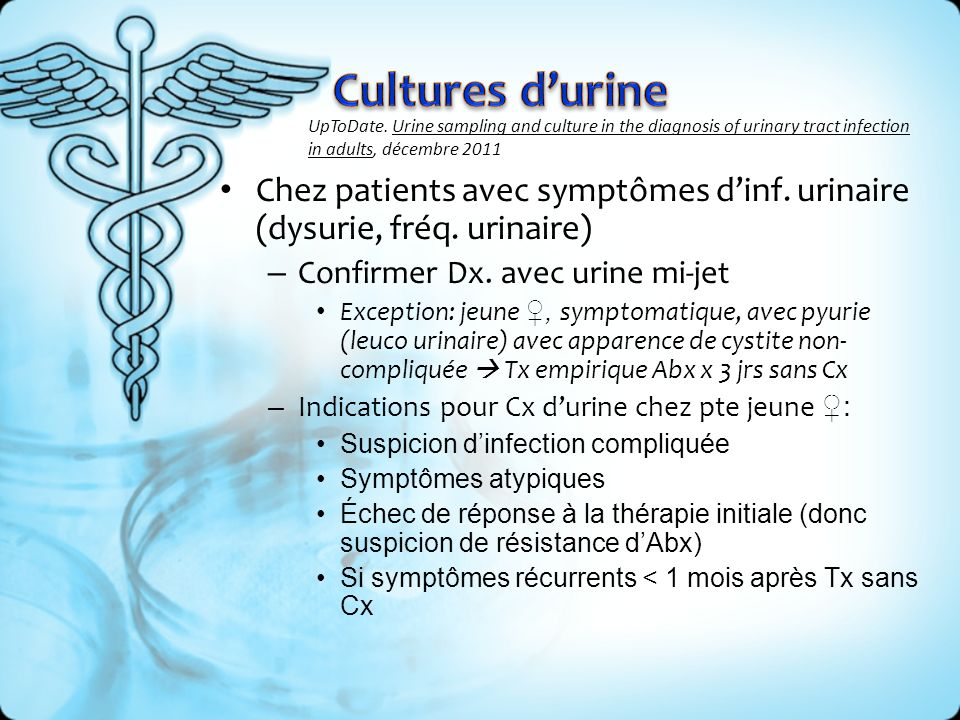 Cultures d'urine UpToDate. Urine sampling and culture in the diagnosis of urinary tract infection in adults, décembre 2011.