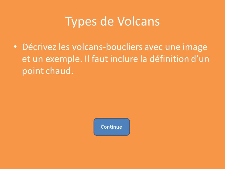 Types de Volcans Décrivez les volcans-boucliers avec une image et un exemple. Il faut inclure la définition d'un point chaud.
