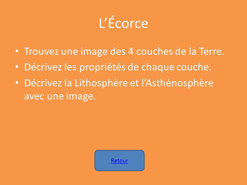 L'Écorce Trouvez une image des 4 couches de la Terre.