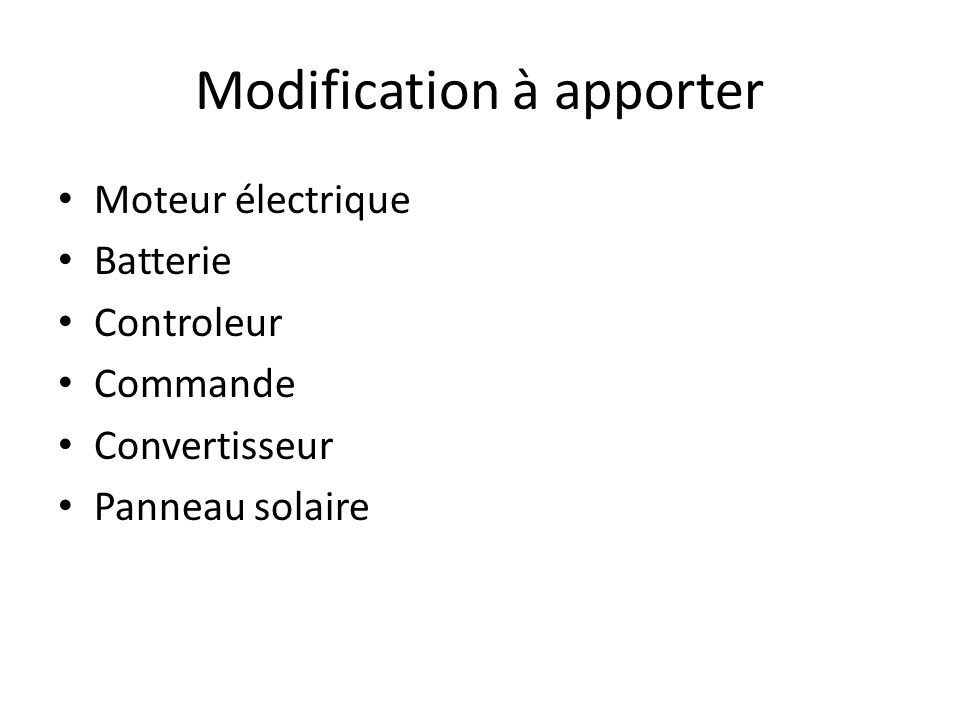 Modification à apporter