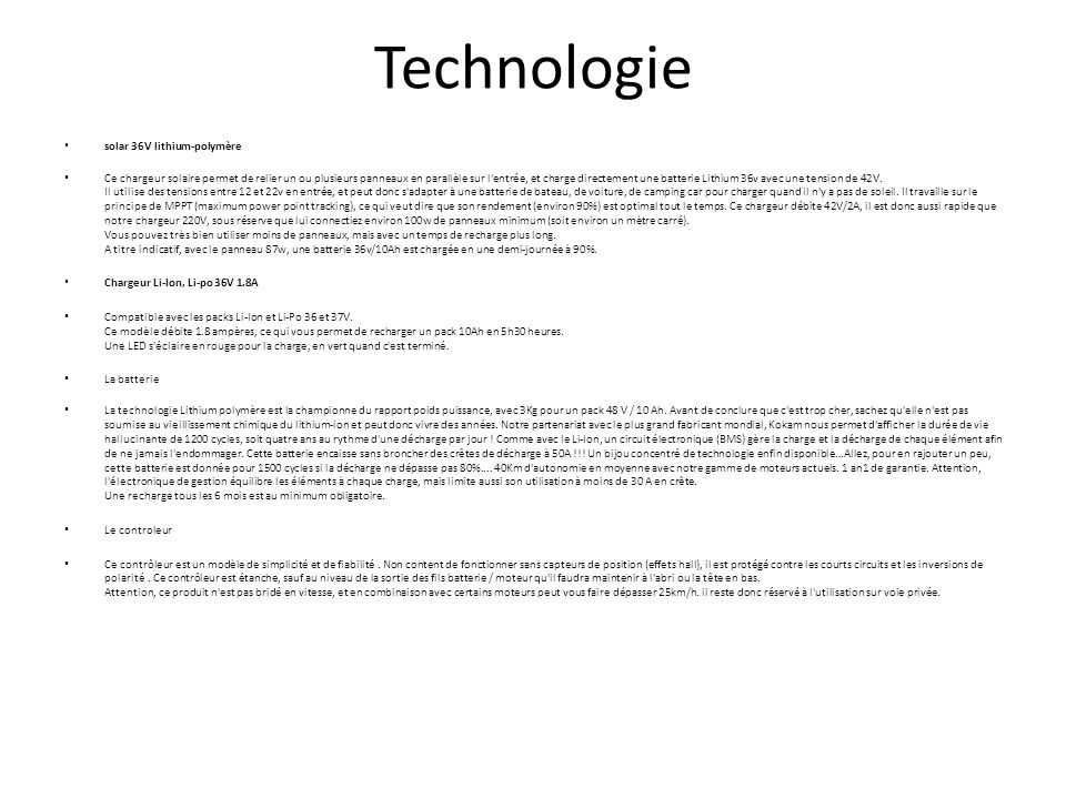 Technologie solar 36V lithium-polymère