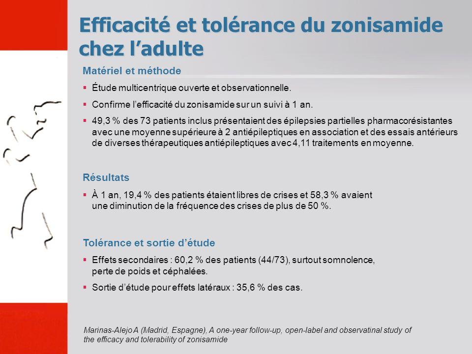 Efficacité et tolérance du zonisamide chez l'adulte