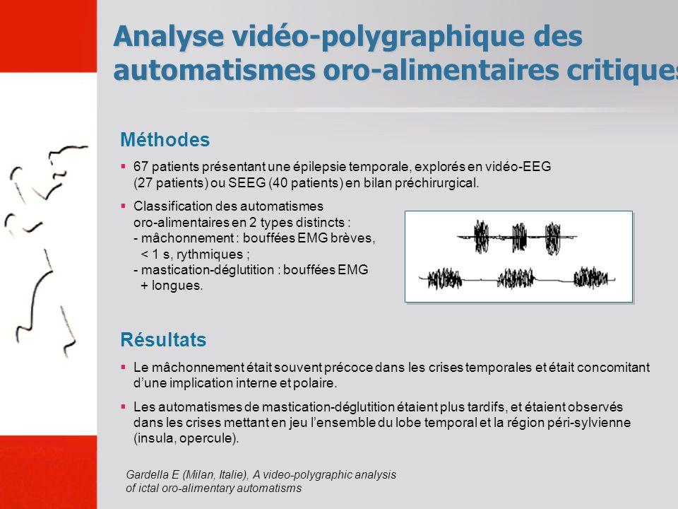 Analyse vidéo-polygraphique des automatismes oro-alimentaires critiques