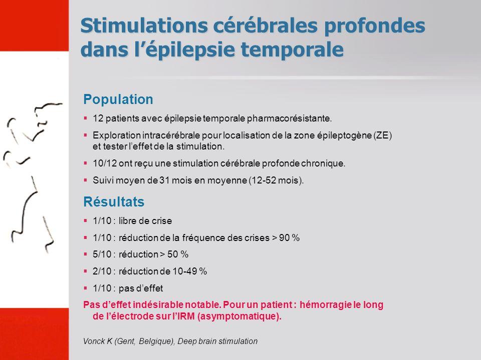 Stimulations cérébrales profondes dans l'épilepsie temporale