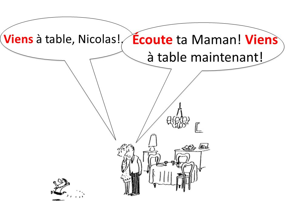 Écoute ta Maman! Viens à table maintenant!