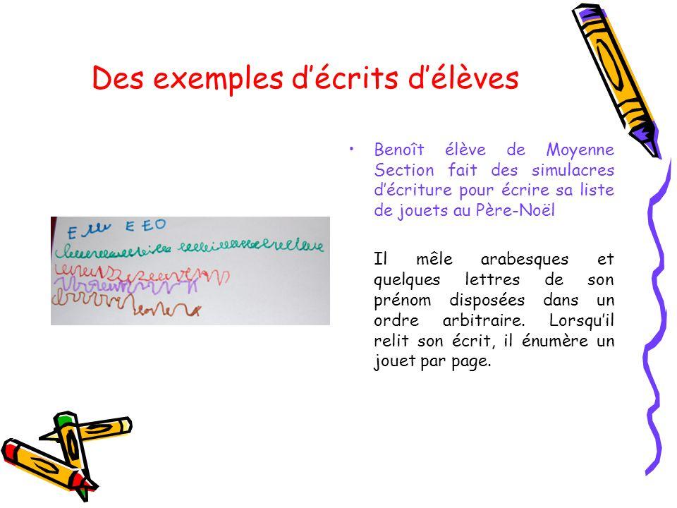 Des exemples d'écrits d'élèves